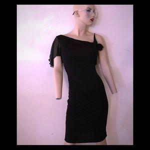 All black Mikai cocktail dress